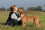 Frau streichelt Rhodesian Ridgeback / woman is fondling Rhodesian Ridgeback