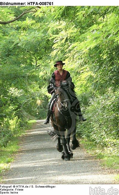 Frau reitet Friese / woman rides friesian horse / HTFA-008761