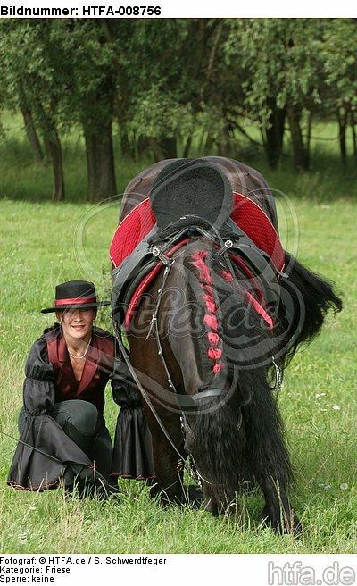 Frau mit Friese / woman and friesian horse / HTFA-008756
